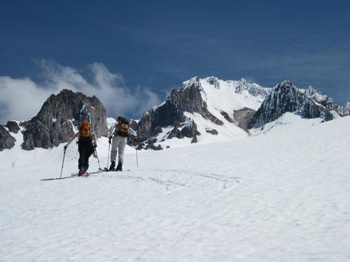 ski touring on mt. hood