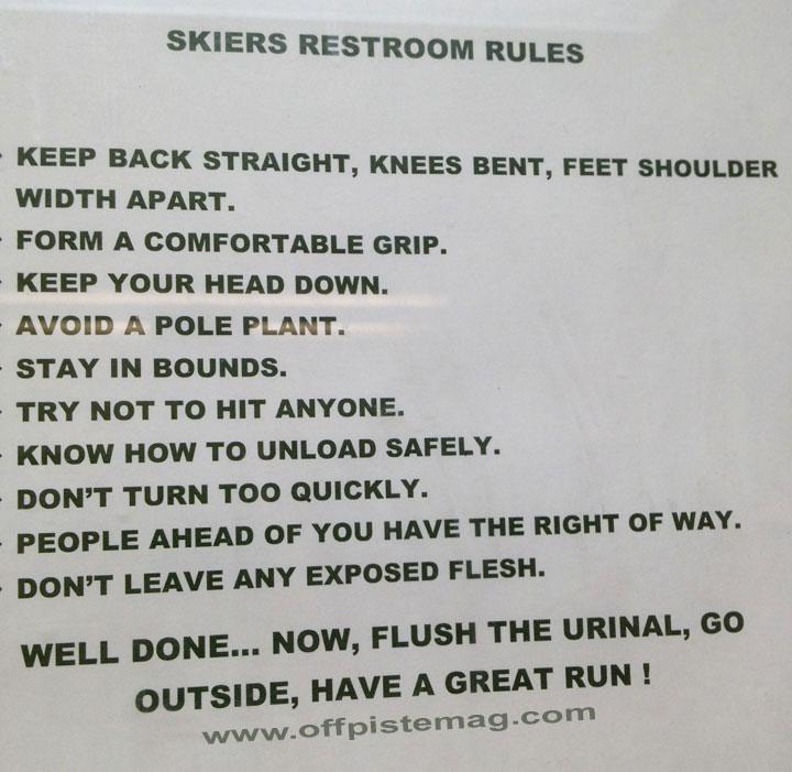 Skier's Restroom Rules