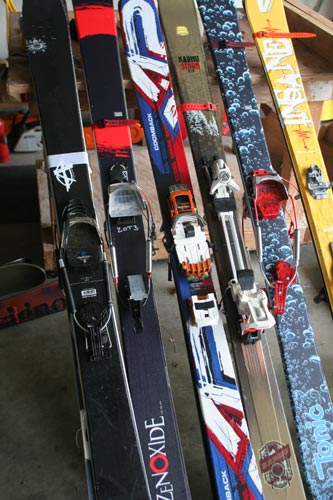 2009 skis from Rossignol, G3, Karhu, and Voile