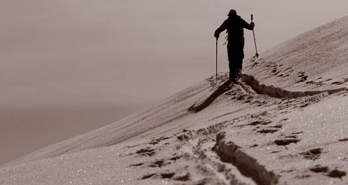 Adjustable ski poles - ski track