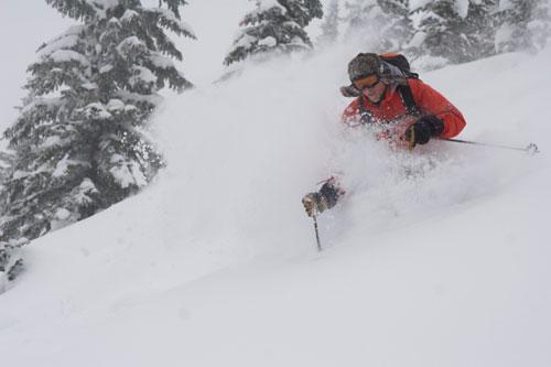 Deep Snow Skiing at Sol Mountain Lodge, BC - Dave Waag Photo
