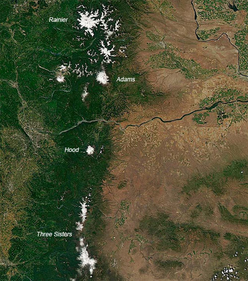 Satelite image of july snowpack in the northwest