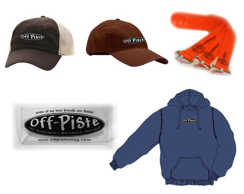 Off-Piste Swag - ball caps, voile straps, ski scrapers. hoodies