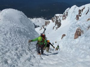 climbing old chute on mt hood