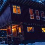 snowy mountain lodge