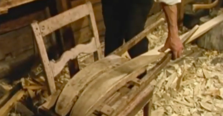 Traditional wooden ski making