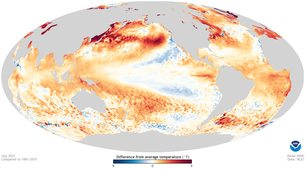 ski season forecast - ENSO world heat map
